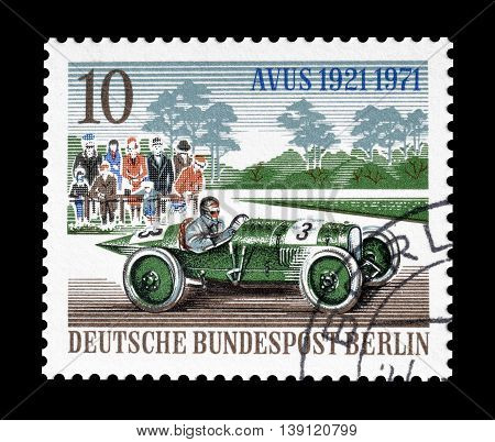 BERLIN - CIRCA 1971 : Cancelled postage stamp printed by Berlin, that shows Old racing car.