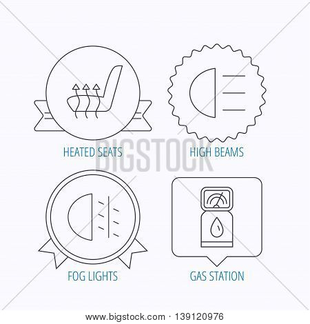 Petrol station, fog lights and heated seats icons. Gas fuel station linear sign. Award medal, star label and speech bubble designs. Vector