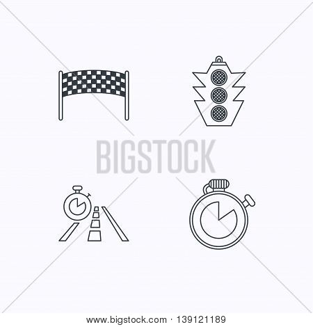 Checkpoint, traffic lights and timer icons. Travel time, road linear signs. Flat linear icons on white background. Vector