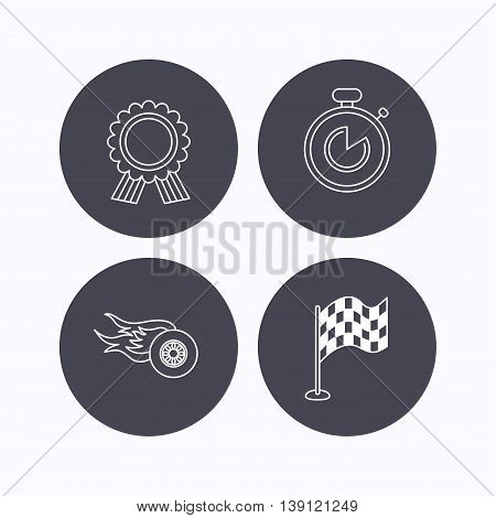 Race flag, winner medal and timer icons. Wheel on fire linear sign. Flat icons in circle buttons on white background. Vector