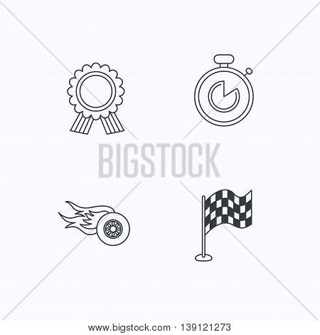 Race flag, winner medal and timer icons. Wheel on fire linear sign. Flat linear icons on white background. Vector