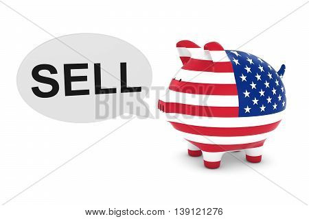 Us Flag Piggy Bank With Sell Text Speech Bubble 3D Illustration