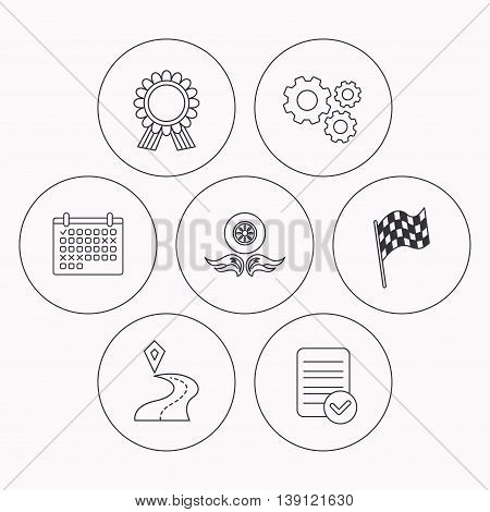 Winner award medal, destination and flag icons. Race flag, wheel on fire linear signs. Check file, calendar and cogwheel icons. Vector