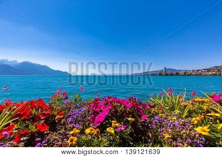 Beautiful view of the Alps Geneva lake and Montreux cityscape with colorful flowers in foreground on a sunny summer day Canton of Vaud Switzerland