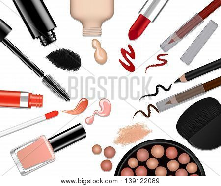 Vector set of different make-up on white background
