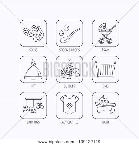 Baby clothes, bath and hat icons. Pram carriage, spoon with drops linear signs. Socks, baby toys and bubbles flat line icons. Flat linear icons in squares on white background. Vector