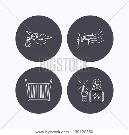 Baby monitor, crib bed and songs for kids icons. Stork and sack linear sign. Flat icons in circle buttons on white background. Vector