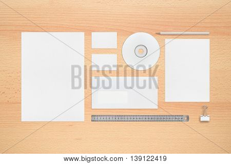 Template for corporate identity - letterheads business cards envelope pencil cd or dvd binder clip ruler.