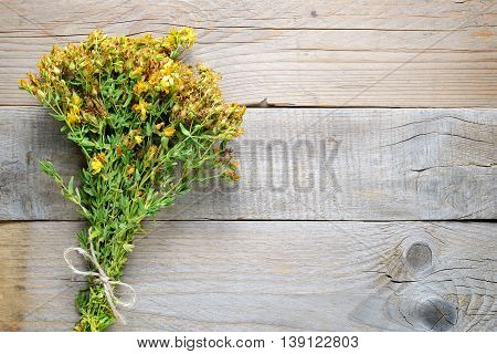 Bunch of hypericum on old wooden background