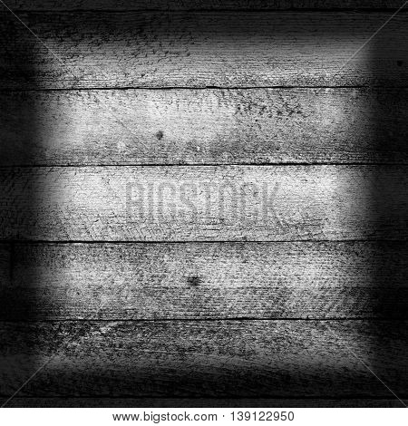 old wooden texture grunge background with horizontal boards granary. black white toned photo with vignette frame