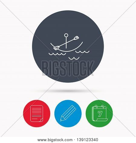 Kayaking on waves icon. Boating or rafting sign. Canoeing extreme sport symbol. Calendar, pencil or edit and document file signs. Vector