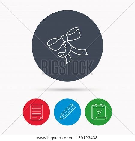 Gift bow icon. Present decoration sign. Ribbon for packaging symbol. Calendar, pencil or edit and document file signs. Vector