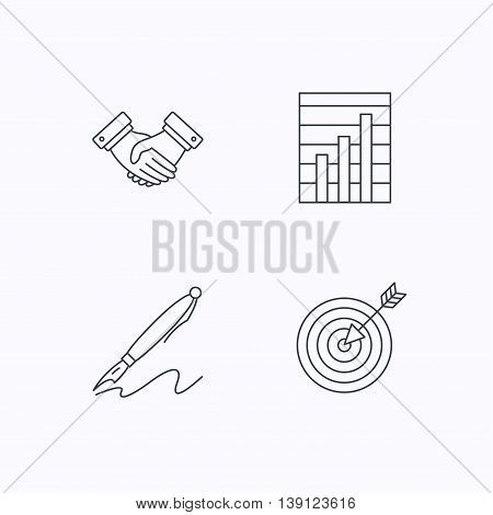 Handshake, graph charts and target icons. Pen linear sign. Flat linear icons on white background. Vector