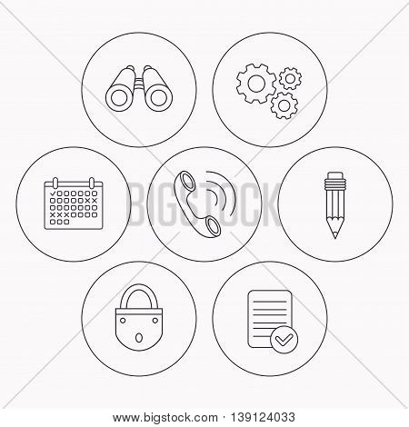 Phone call, pencil and search icons. Lock linear sign. Check file, calendar and cogwheel icons. Vector