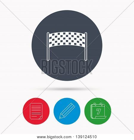 Finishing checkpoint icon. Marathon banner sign. Calendar, pencil or edit and document file signs. Vector