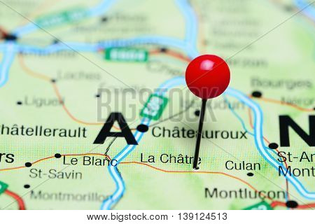 La Chatre pinned on a map of France
