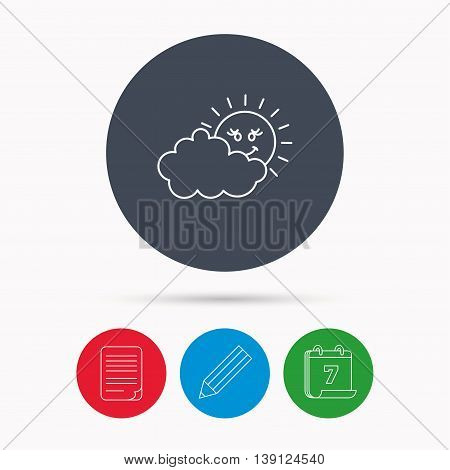 Cloudy day with sun icon. Overcast weather sign. Meteorology symbol. Calendar, pencil or edit and document file signs. Vector