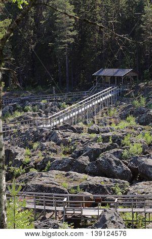 Wooden Track And Information Hut A Doeda Fallet In Sweden