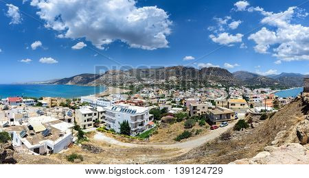 Panorama of Paleochora town, located in western part of Crete island, Greece