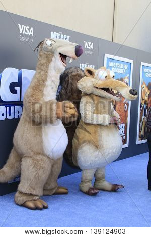 LOS ANGELES - JUL 17:  General Atmosphere, Ice Age Charachters at the 'Ice Age: Collision Course' at the 20th Century Fox Lot on July 17, 2016 in Los Angeles, CA