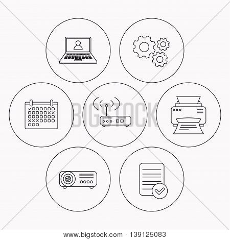 Printer, wi-fi router and projector icons. Webinar linear sign. Check file, calendar and cogwheel icons. Vector