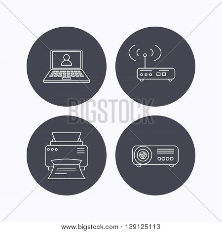 Printer, wi-fi router and projector icons. Webinar linear sign. Flat icons in circle buttons on white background. Vector