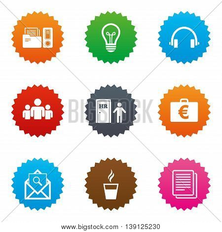 Office, documents and business icons. Accounting, human resources and group signs. Mail, ideas and money case symbols. Stars label button with flat icons. Vector