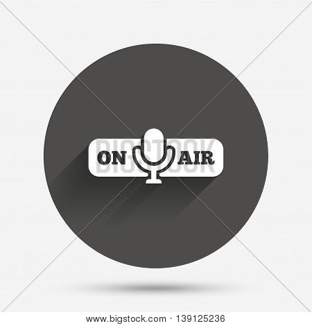 On air sign icon. Live stream symbol. Microphone symbol. Circle flat button with shadow. Vector