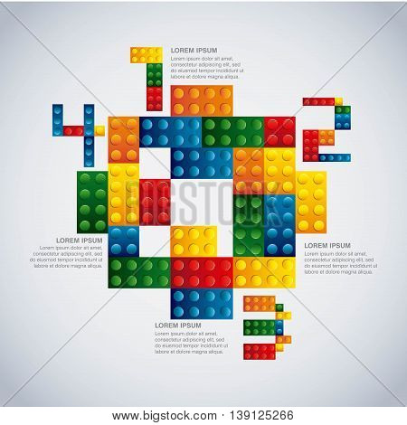Infographic concept represented by geometric puzzle icon. Colorfull and flat illustration.