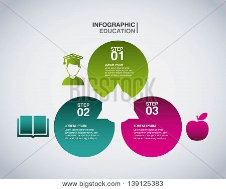 Infographic education concept represented by apple student and book icon. Colorfull and flat illustration.