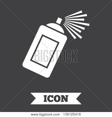Graffiti spray can sign icon. Aerosol paint symbol. Graphic design element. Flat paint spray symbol on dark background. Vector