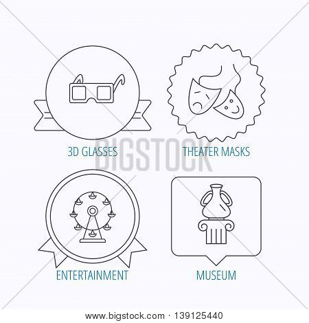 Museum, ferris wheel and theater masks icons. 3d glasses linear sign. Award medal, star label and speech bubble designs. Vector