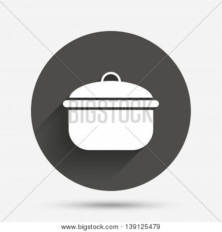 Cooking pan sign icon. Boil or stew food symbol. Circle flat button with shadow. Vector