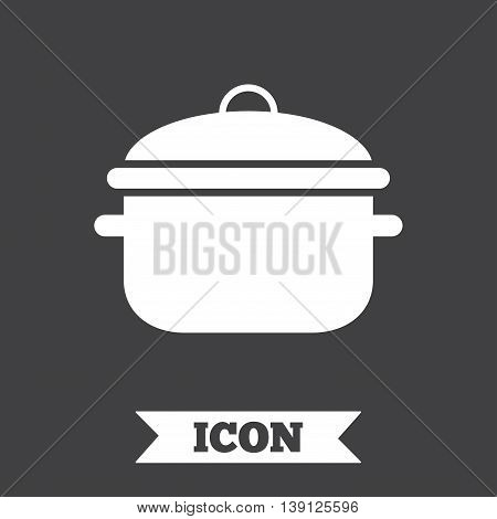 Cooking pan sign icon. Boil or stew food symbol. Graphic design element. Flat cooking pan symbol on dark background. Vector