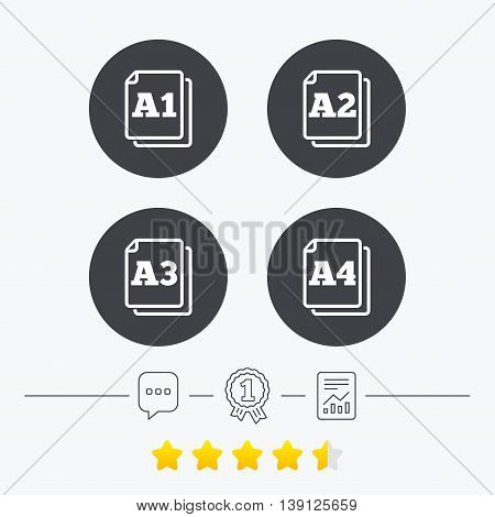 Paper size standard icons. Document symbols. A1, A2, A3 and A4 page signs. Chat, award medal and report linear icons. Star vote ranking. Vector