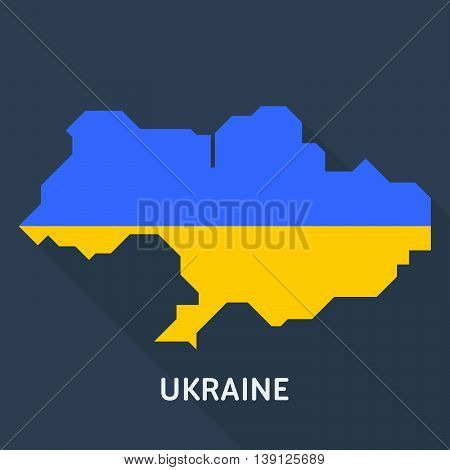 Map and flag of Ukraine country isolated on blue background. European country. Vector template for website, design, cover, infographics. Graph illustration.