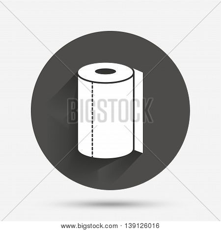 Paper towel sign icon. Kitchen roll symbol. Circle flat button with shadow. Vector
