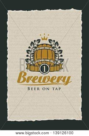 beer label to the brewery with a barrel and a laurel wreath