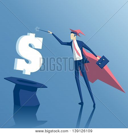 Businessman wizard makes money with magic. Businessman like a magician gets money out of a hat