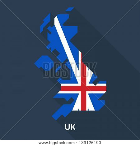map and flag of united kingdom isolated on dark blue background. European country. Vector template for website, design, cover, infographics. Graph illustration.