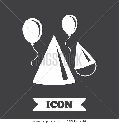 Party hat sign icon. Birthday celebration symbol. Air balloon with rope. Graphic design element. Flat party hat symbol on dark background. Vector