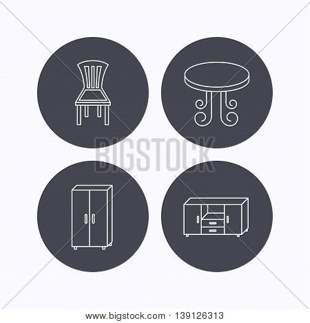Chair, table and cupboard icons. Chest of drawers linear sign. Flat icons in circle buttons on white background. Vector
