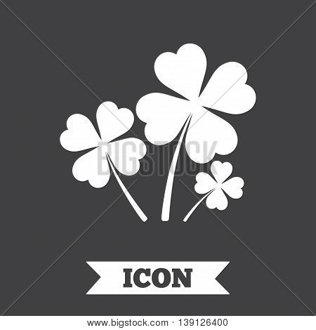 Clovers with four leaves sign icon. Saint Patrick symbol. Graphic design element. Flat clovers symbol on dark background. Vector