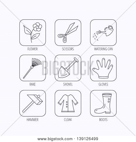 Scissors, hammer and gloves icons. Shovel, watering can and rake linear signs. Cloak, boots and flower flat line icons. Flat linear icons in squares on white background. Vector