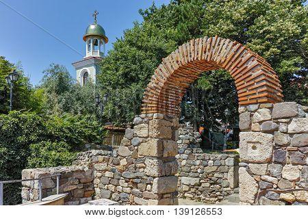 Ancient ruins and Saint George church in Sozopol Town, Burgas Region, Bulgaria