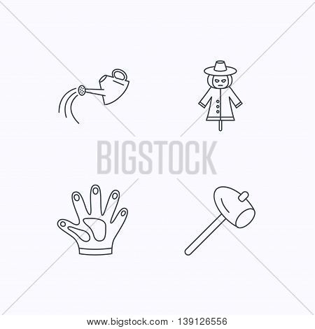 Hammer, scarecrow and watering can icons. Gloves linear sign. Flat linear icons on white background. Vector