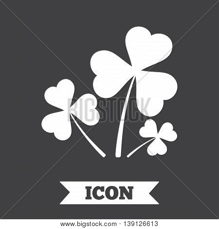 Clovers with three leaves sign icon. Saint Patrick trefoil shamrock symbol. Graphic design element. Flat trefoil clover symbol on dark background. Vector