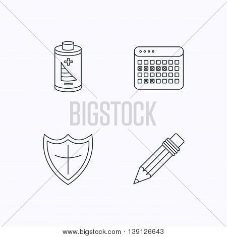 Battery, pencil and protection shield icons. Vacation calendar linear sign. Flat linear icons on white background. Vector