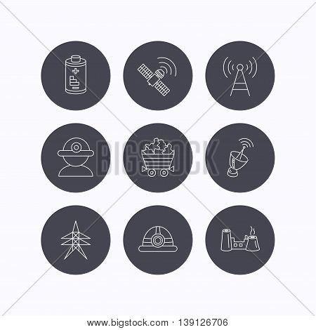 Worker, minerals and engineering helm icons. GPS satellite, electricity station and factory linear signs. Telecommunication, battery icons. Flat icons in circle buttons on white background. Vector