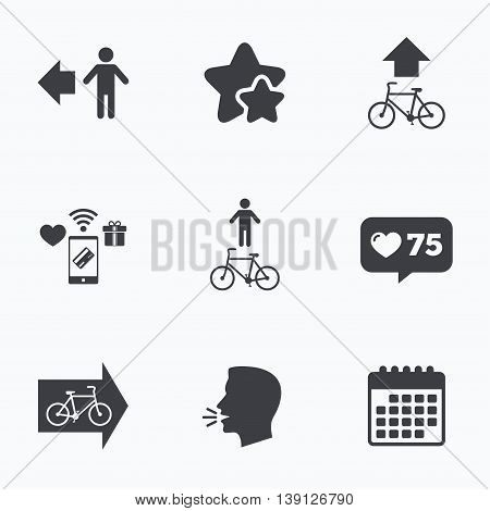 Pedestrian road icon. Bicycle path trail sign. Cycle path. Arrow symbol. Flat talking head, calendar icons. Stars, like counter icons. Vector